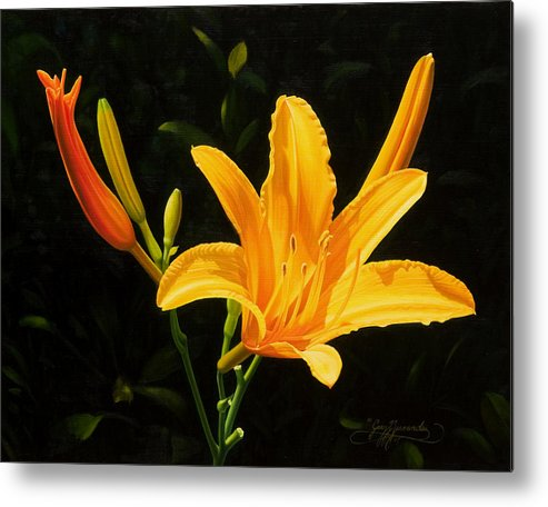 Floral Metal Print featuring the painting Monikas Lily by Gary Hernandez