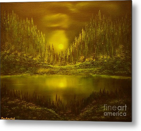 Evening Moonlight Metal Print featuring the painting Moon Lake Reflection-original Sold- Buy Giclee Print Nr 33 Of Limited Edition Of 40 Prints by Eddie Michael Beck