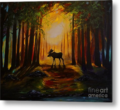 Moose Metal Print featuring the painting Moose Hideout by Leslie Allen