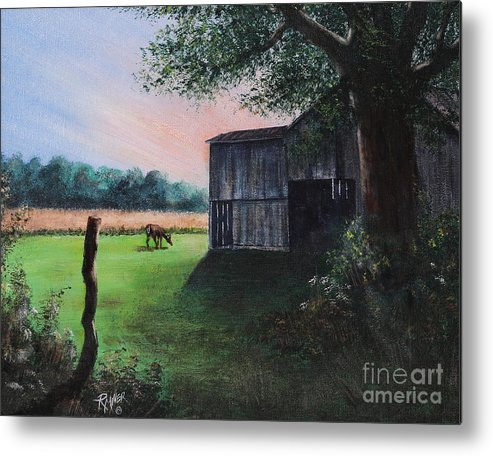 Barn Metal Print featuring the painting Morning Breakfast by Rita Miller