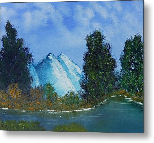 Fine Art Metal Print featuring the painting Mountain Stream by Jennifer Muller
