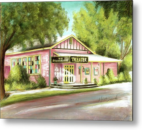 Old Schoolhouse Theater Metal Print featuring the painting Old Schoolhouse Theater On Sanibel Island by Melinda Saminski