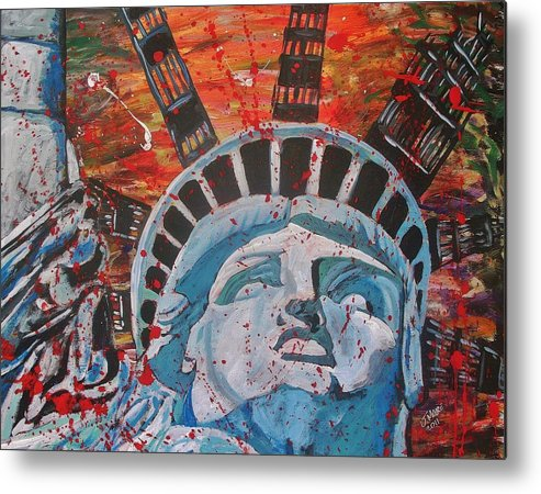 Statue Liberty America United States 911 World Trade Center Metal Print featuring the painting One September Mourning by Jeremy Moore
