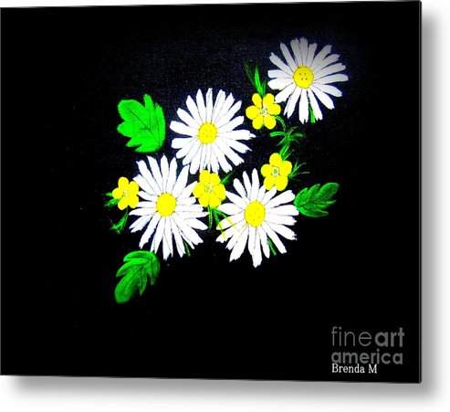 Daisy Metal Print featuring the painting Out Of The Darkness Comes Light by Brenda Mayall