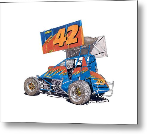 Jack Pumphrey Watercolor Race Car Art Metal Print featuring the painting Dirt Track Racing Outlaw 42 by Jack Pumphrey