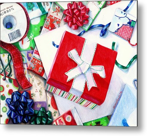 Package Metal Print featuring the drawing Packages Boxes And Bags by Shana Rowe Jackson