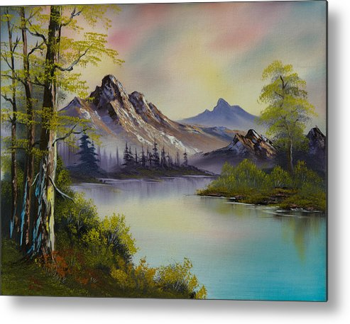 Landscape Metal Print featuring the painting Pastel Skies by C Steele
