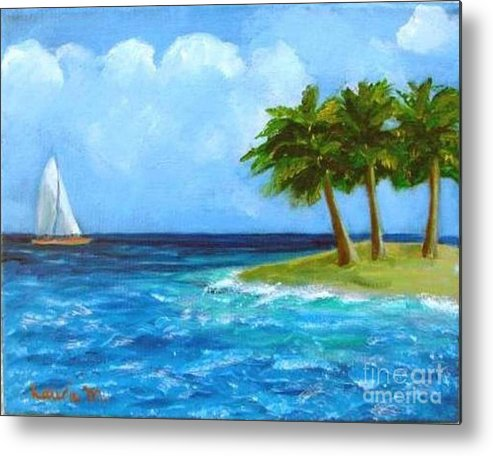 Boats Metal Print featuring the painting Perfect Sailing Day by Laurie Morgan
