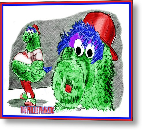Baseball Metal Print featuring the drawing Phillie Phanatic by Chris DelVecchio