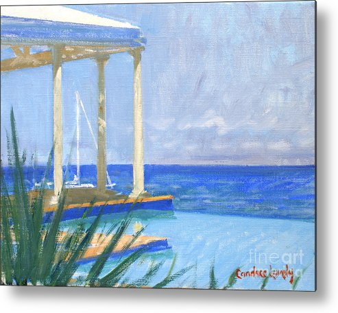 Infinity Pool Metal Print featuring the painting Pool Cabana Morning by Candace Lovely