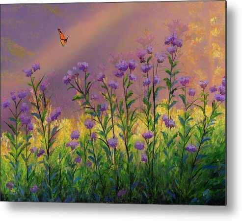 Purple statice flowers metal print by cecilia brendel purple statice flowers oil on canvas original oil painting butterfly yellow flowers floral sun light garden mightylinksfo