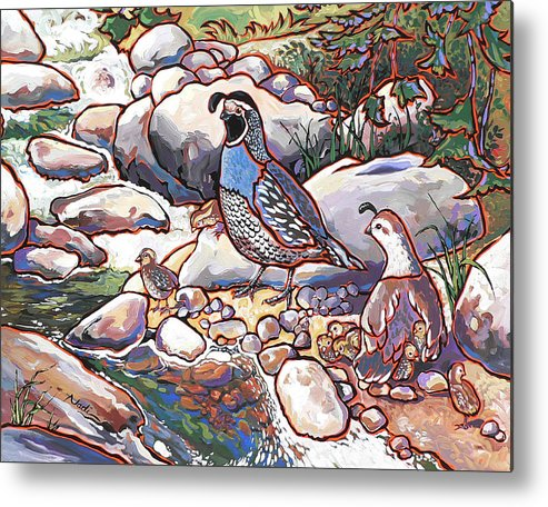 Quail Metal Print featuring the painting Quail Family by Nadi Spencer