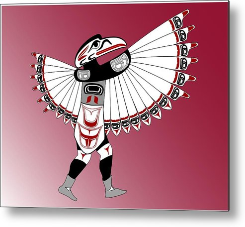 Haida Point Art Metal Print featuring the drawing Raven Dancer by Fred Croydon