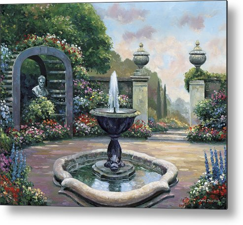 Pallet Metal Print featuring the painting Renaissance Garden by John Zaccheo