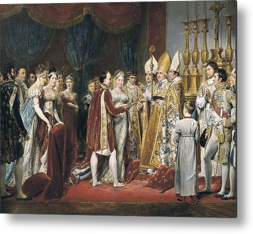 Horizontal Metal Print featuring the photograph Rouget, Georges 1784-1869. The Marriage by Everett