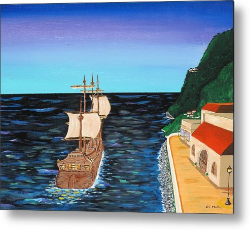 Sail Metal Print featuring the painting Sail At Dusk by Don Miller
