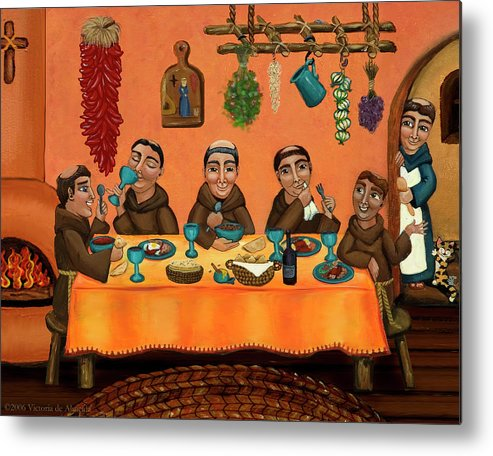 Hispanic Art Metal Print featuring the painting San Pascuals Table by Victoria De Almeida