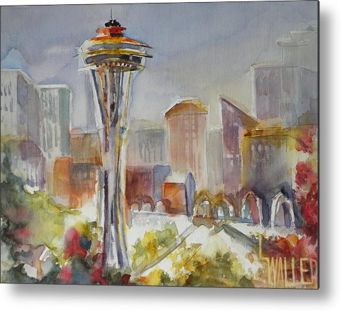 Seattle Metal Print featuring the painting Seattle's Icon by Lola Waller