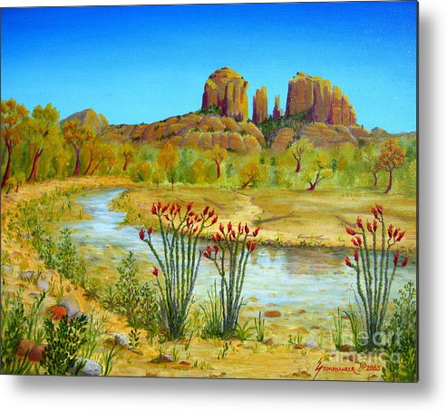 Sedona Metal Print featuring the painting Sedona Arizona by Jerome Stumphauzer
