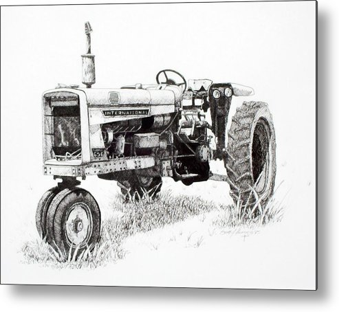 Tractor Metal Print featuring the drawing Seen Better Days by Scott Alcorn