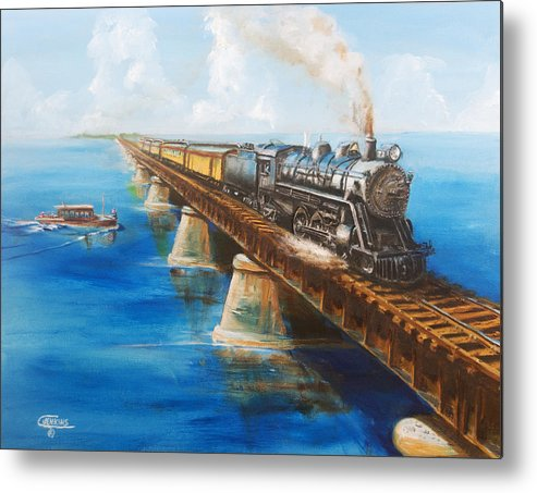 Florida Metal Print featuring the painting Seven Mile Bridge by Christopher Jenkins
