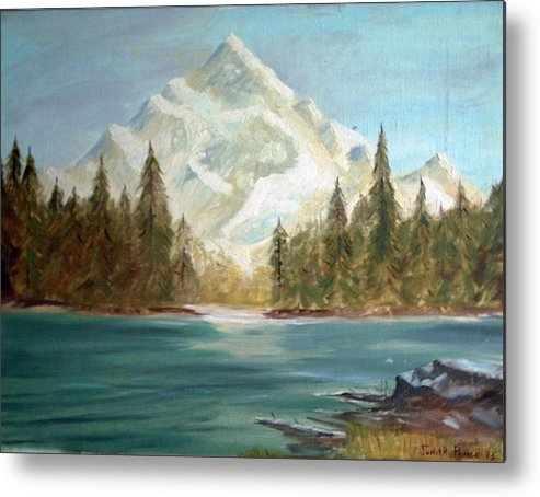Mountain Metal Print featuring the painting Snow Covered Mountain by Judi Pence
