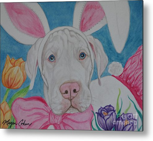 Dog Metal Print featuring the painting Some Bunny Says Spring Has Sprung by Megan Cohen