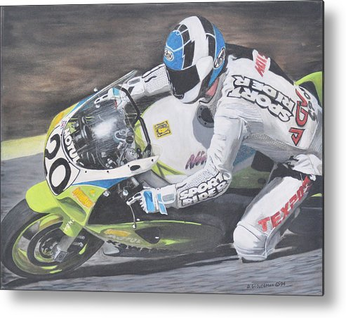 Motorcycle Metal Print featuring the painting Sport Rider by Denis Gloudeman