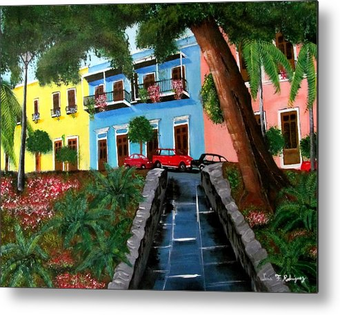 Old San Juan Metal Print featuring the painting Street Hill In Old San Juan by Luis F Rodriguez