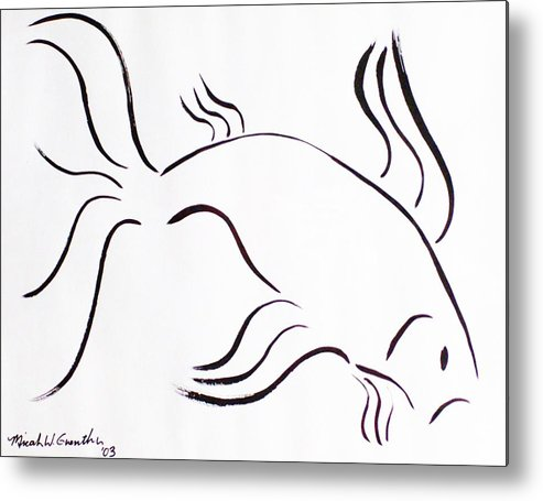 Abstract Metal Print featuring the drawing Strength by Micah Guenther