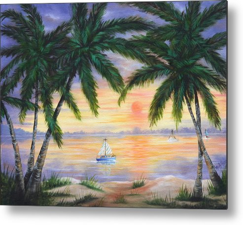 Seascape Metal Print featuring the painting Summer Sunset by Ruth Bares