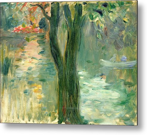 Setting Sun; Impressionist; Reflection Metal Print featuring the painting Sunset Over The Lake Bois De Boulogne by Berthe Morisot