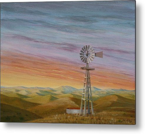 High Plains Metal Print featuring the painting Windmill Sunset by J W Kelly