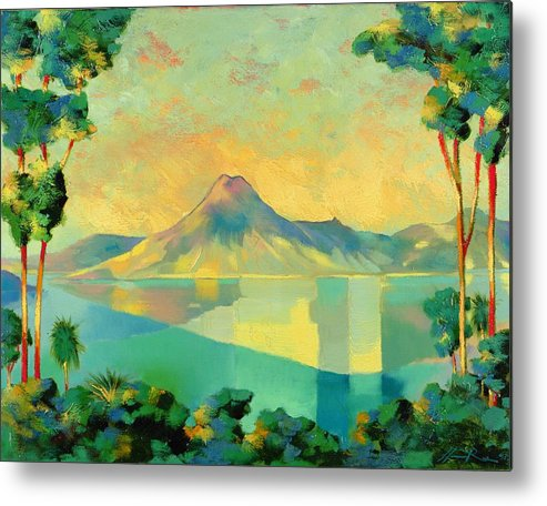 Lake Atitlan Metal Print featuring the painting The Art Of Long Distance Breathing by Andrew Hewkin