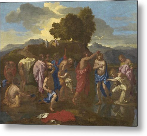 Jesus; Christ; Crucifix; Staff; St; John; Baptist; Saint; Baptising; River; Jordan; Dove; Holy; Spirit; Holy; Ghost; Baroque; Neo; Classical; Landscape Metal Print featuring the painting The Baptism Of Christ by Nicolas Poussin