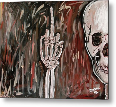 Skull Skeleton Bones Hand Middle Finger Bird Obsene Gesture Metal Print featuring the painting The Bird by Jeremy Moore