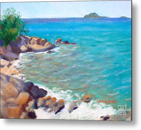 Honey Moon Beach Metal Print featuring the painting The Cottage View by Candace Lovely