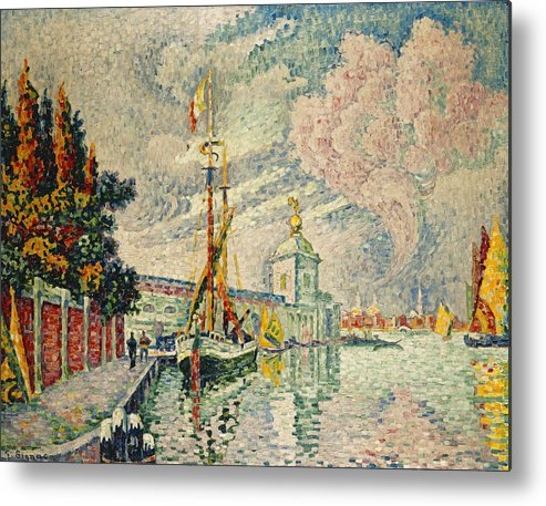 Neo-impressionist Metal Print featuring the painting The Dogana by Paul Signac