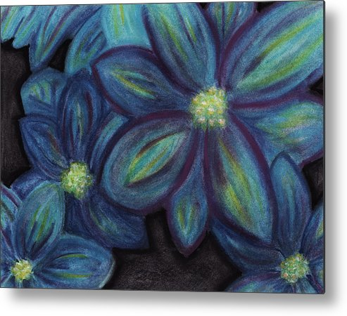 Blue Metal Print featuring the pastel The Flowers Are Blue by Ashley King