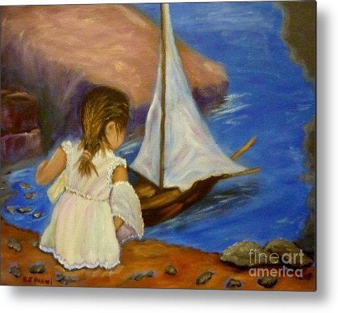 Little Girl Metal Print featuring the painting The Future Wave by Beverly Hanni