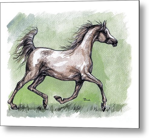 Horse Metal Print featuring the painting The Grey Arabian Horse 8 by Angel Ciesniarska
