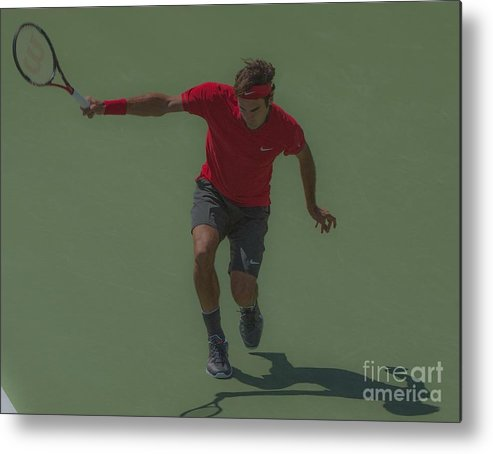 Roger Federer Metal Print featuring the photograph The King Of Tennis by Terry Cosgrave