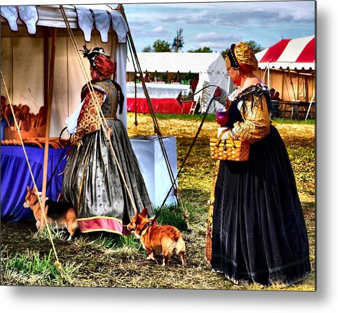 Corgies Metal Print featuring the photograph The Ladies And The Corgies by Julie Dant