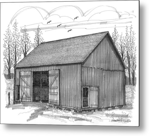 Vermont Metal Print featuring the drawing The Lawrence Barn by Richard Wambach