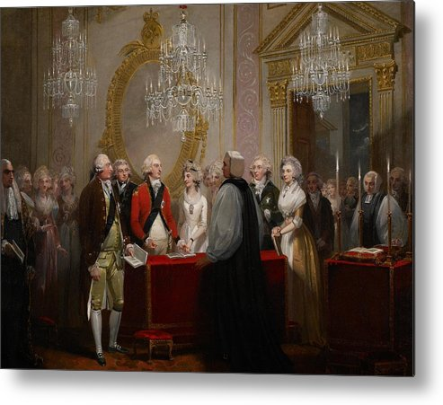Chandelier Metal Print featuring the painting The Marriage Of The Duke And Duchess Of York by Henry Singleton