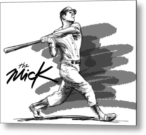 The Mick Metal Print featuring the drawing The Mick by Ron Regalado