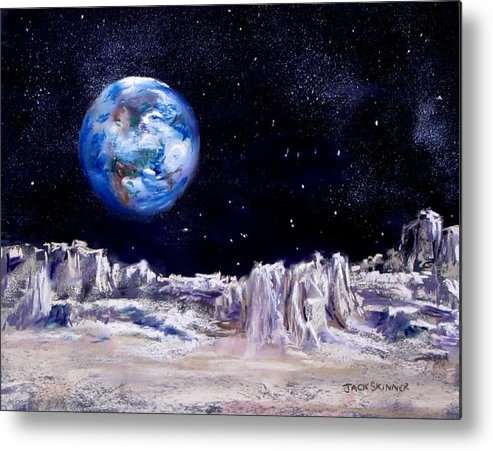 Moon Metal Print featuring the painting The Moon Rocks by Jack Skinner