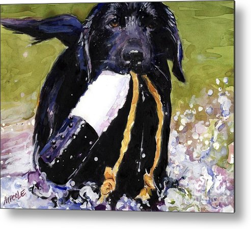 Black Lab Puppy Metal Print featuring the painting The Ropes by Molly Poole