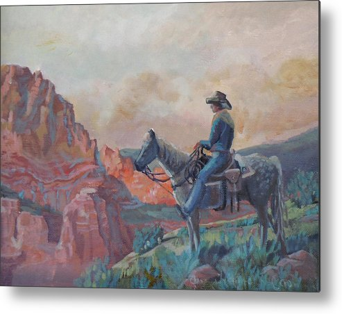 Cowboy Metal Print featuring the photograph The View by Heather Coen