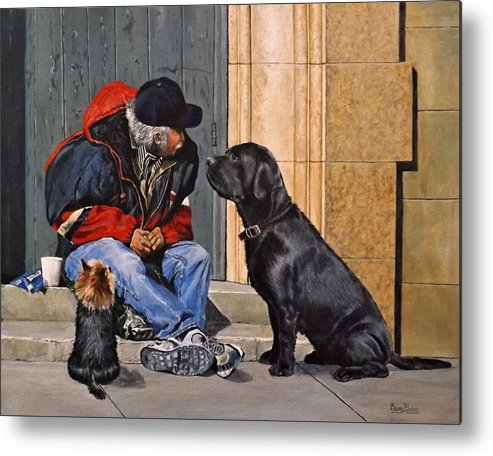 Animal Metal Print featuring the painting Three Strays by Barry BLAKE